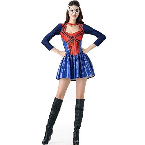 HYMZP Disfraces Mujer, Halloween Sexy Mujer Adulta Spider-Man Falda De Manga Larga con Máscara para Los Ojos, Rave Party Cosplay Spider Man Vestido Uniforme