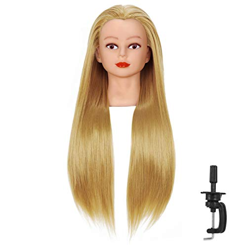 "Cosmetology Mannequin Head with Synthetic Hair and Adjustable Stand 26-28"" Blonde for Braiding Hair Styling Training Hairart Hairdressing Salon Display"