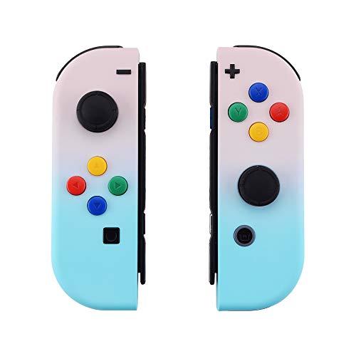 eXtremeRate Coques avec ABXY Boutons de Direction pour Nintendo Switch NS JoyCons Manette Contrôleur,DIY Housse de Remplacement(Pas de Coque de Console)-Dégradé Rose Bleu