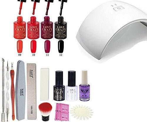 LoveCrazy 4pcs Kit De Colores 9-12 en Gel Manicura Semipermanente + TopCoat y Base Coat UV LED Manicura Arte + Lámpara Secador 9C de Uñas UV/LED + Removedores + Lima + otros productos (9C KIT 9-12)