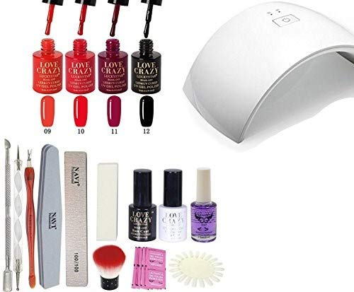 LoveCrazy 4pcs Kit De Colores 9-12 en Gel Manicura Semipermanente + TopCoat y Base Coat UV LED Manicura Arte + Lámpara Secador 9C de Uñas UV/LED + Removedores + Lima + otros productos (9C KIT 9-12)