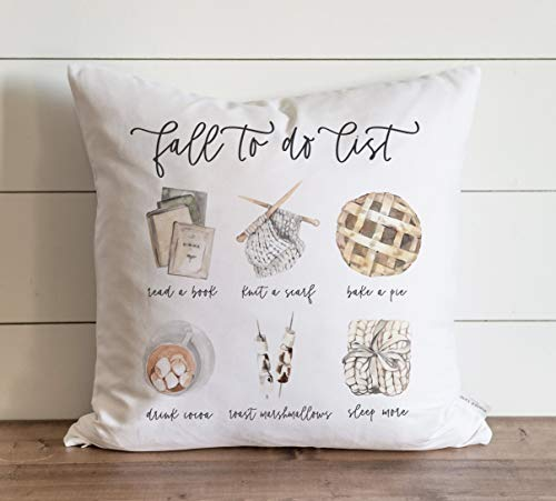 Promini Fall Pillow Cover Fall to Do List Watercolor Pumpkin Pie Chunky Knit Throw Thanksgiving Decor Fall Home Decor Case Cushion Pillowcase for Sofa Bench Bed 16 x 16 Inches