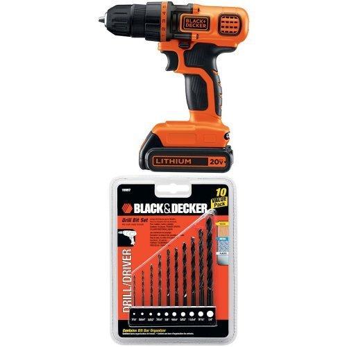 Black & Decker LDX120C 20-Volt MAX Lithium-Ion Cordless Drill/Driver w/ 15557 Drill Bit Set, 10-Piece