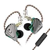 KZ ZSX IEM Auriculares Híbridos 5BA 1DD Auriculares In Ear Monitor Auricular KZ de Diadema 5 Balanceados Armadura y 1 Dinámica con Cable de 2 Pines(Cian con Mic)