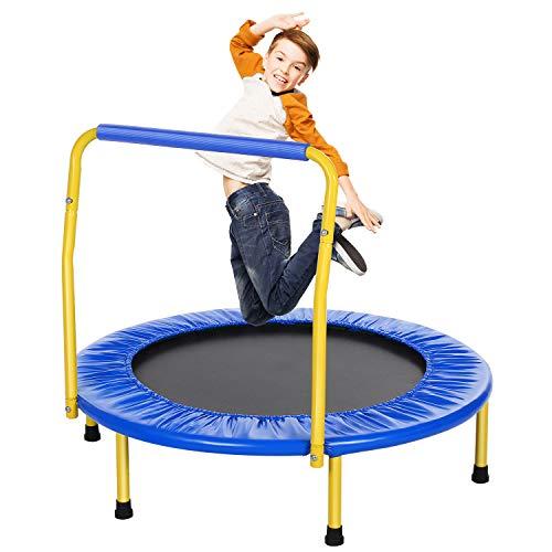 ANCHEER Trampolin Kinder Mini Trampolin für Drinnen,Klappbar Fitness Kindertrampolin Indoor,Kind Minitrampolin mit Haltegriff,mit Haltegriff Belastung Bis 75kg