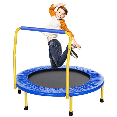 ANCHEER Trampolin Kinder Mini Trampolin für Drinnen,Klappbar Fitness Kindertrampolin Indoor,Kind Minitrampolin mit Haltegriff,mit Haltegriff Belastung Bis 75kg