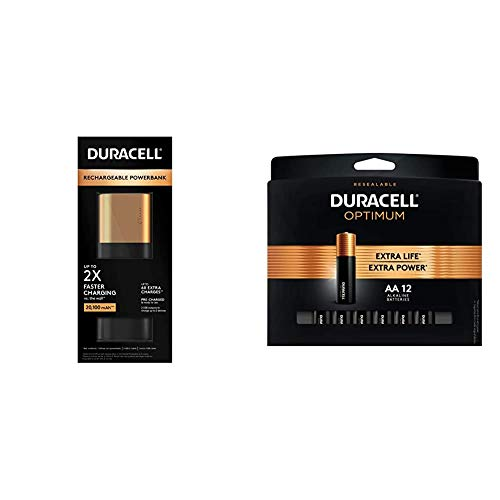 Duracell Rechargeable Powerbank 20100 mAh 7 Day Portable Charger Compatible with iPhone, iPad, Samsung, Android, Nintendo Switch & Optimum 1.5V Alkaline AA Batteries