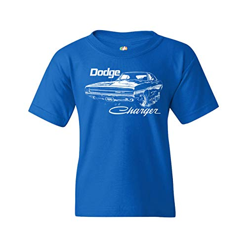 1970 Dodge Charger Youth T-Shirt Classic Retro Muscle Car Licensed Kids Blue