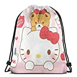 Bolso clásico con cordón rosa Hello Kitty Gym Mochila Bolsas de hombro Deporte Bolsa de almacenamiento para hombre y mujer
