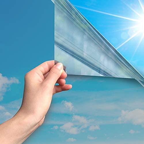 MARAPON® Spiegelfolie selbstklebend statisch haftend [75x200 cm] inkl. eBook mit Profitipps - Sichtschutzfolie Fenster - Fensterfolie selbsthaftend Blickdicht