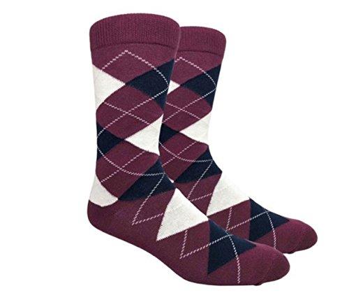 Urban-Peacock Men's Argyle Dress Groomsmen Socks (Multiple Colors Available) (Argyle - Maroon Burgundy with Navy, 1 Pair)