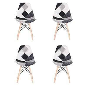 BenyLed Juego de 4 Sillas de Comedor de Tela con Diseño de Retazos y Combinación de Tela Moderna Retro para Comedor, Cocina, Oficina, Restaurante, etc., (Negro)
