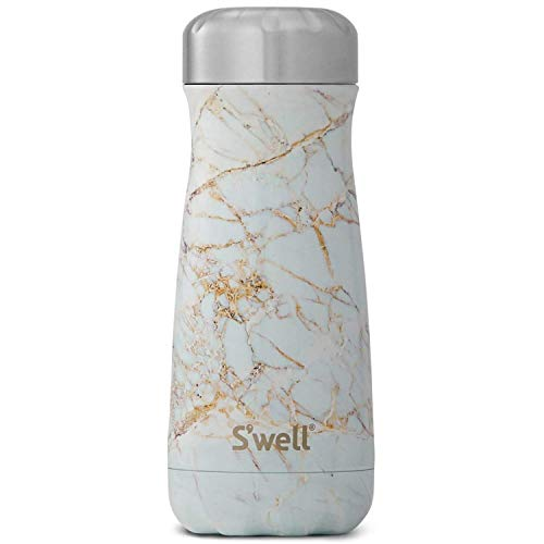 Swell Traveller Calacatta Botella, Acero Inoxidable, Blanco, 7x7x23 cm