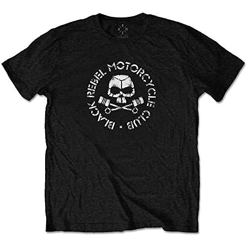 Black Rebel Motorcycle Club Piston Skull Ufficiale Uomo Maglietta Unisex (Large)