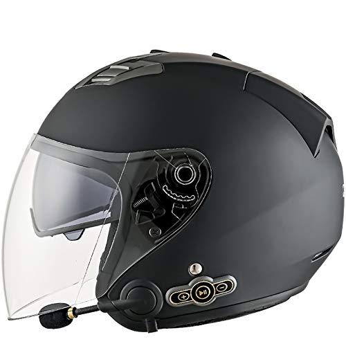 Bluetooth 3/4 Moto Jet Casco Retro Casco Moto Abierto Moto Casco de Cara con Doble Visera de Sol para Unisex/All Seasons Certificado ECE A,L