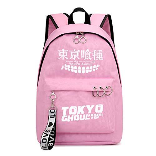 ZZGOO-LL Tokyo Ghoul Kaneki Ken Mochilas de Anime Mochila Escolar para Estudiantes Mochila para portátil Pink