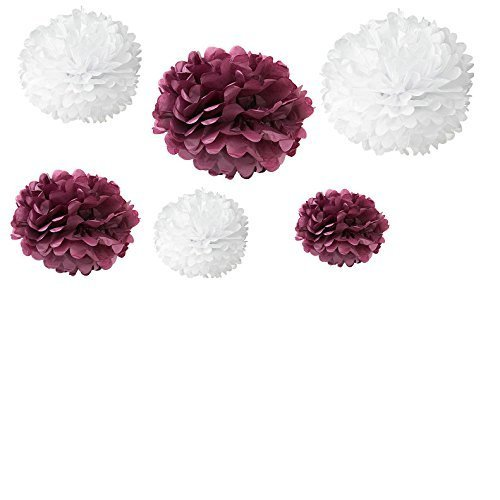 Somnr Set of 12pcs Mixed 3 Sizes White Maroon Tissue Paper Pom Poms Flower Wedding Party Baby Girl Room Nursery Decoration