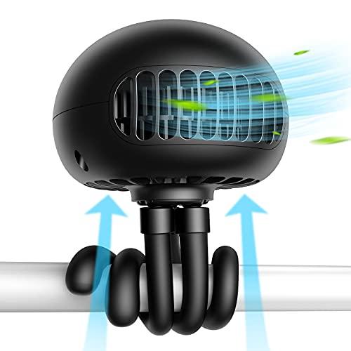 SmartDevil Tragbarer USB Ventilator,Mini Handventilator Leise Tischventilator,3 Geschwindigkeiten Starker 60° Drehbar,Clip Ventilator für Kinderwagen, Autositz,Zelt-Schwarz