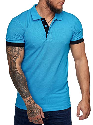 OneRedox Herren Poloshirt Polohemd Basic Kurzarm Einfarbig Slim Fit Polo Shirt Baumwolle T-Shirt Polokragen M-XXXL Modell 1402 Türkis XXL
