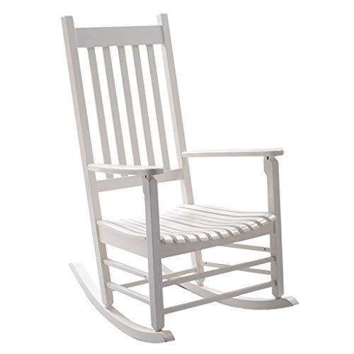 N/A - Silla mecedora de madera maciza con reposabrazos para relajarse o como silla de lactancia, columpio para sala de estar, cocina, balcón, jardín, blanco
