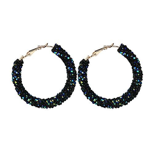 Pendientes de aro de cristal austriaco del encanto de la manera del nuevo diseño geométrico redondo brillante brillante joyería del pendiente de las mujeres