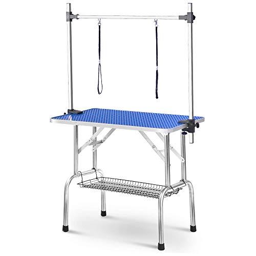 Einstellbare Portable Edelstahl Hundepflege Tisch mit Arm Noose und Accessorie Tray, Größe W90 D60 H76 cm / W36 D23.6 H30 Zoll zhangxu (Size : M)