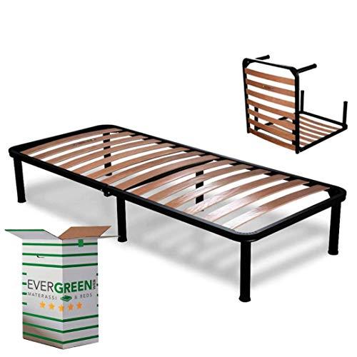Evergreenweb ❤️ Orthopädischer Lattenrost 90x190 Faltbar, 35 cm Hoch, Holzleisten mit 6 Abnehmbar Füße Verstärkte Rahmen aus Stahl, Bettgestell für alle Betten und Matratzen