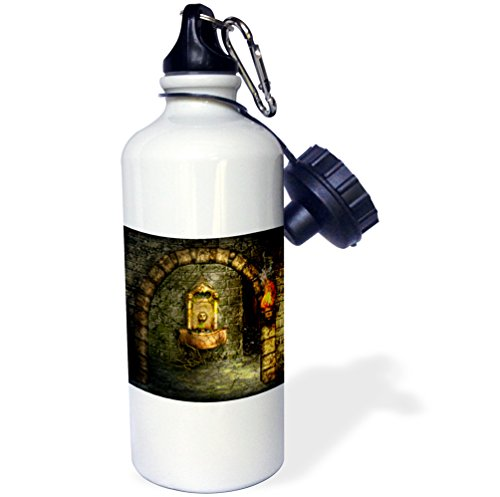 3dRose wb_11908_1 A medieval room features an enchanted fountain as a torch burns nearby - Sports Water Bottle, 21 oz, White