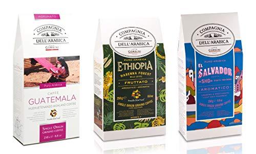 Caffè Corsini Compagnia dell Arabica Tris Caffè Guatemala Etiopia El Salvador 100% Arabica Caffè Torrefatto e Macinato Tris Monorigine Specialty Coffee - Pacco da 3 x 250 g