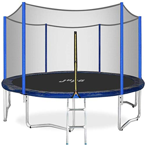 JUPA Capacity 375LBS Kids Trampoline 15FT 14FT 12FT, Safe Outdoor Trampoline with Enclosure Net Jumping Mat Safety Pad, Heavy Duty Round Trampoline for Backyard(15FT)