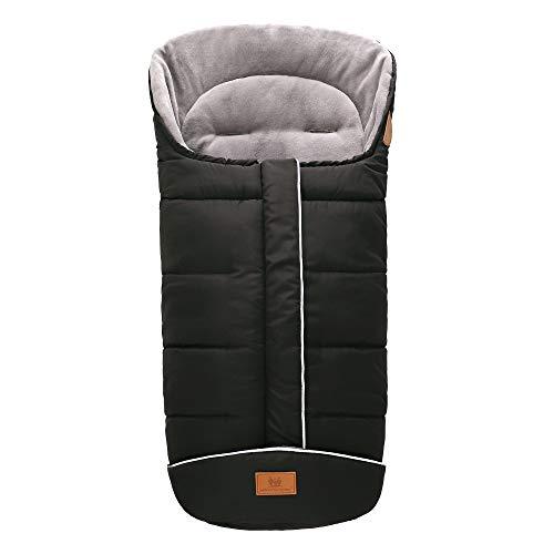 E-More Saco de invierno Universal para Cochecito y Silla de paseo - Protección antideslizante, Forro Polar térmico Deluxe, capucha tipo momia, reflectores y bolsa, negro