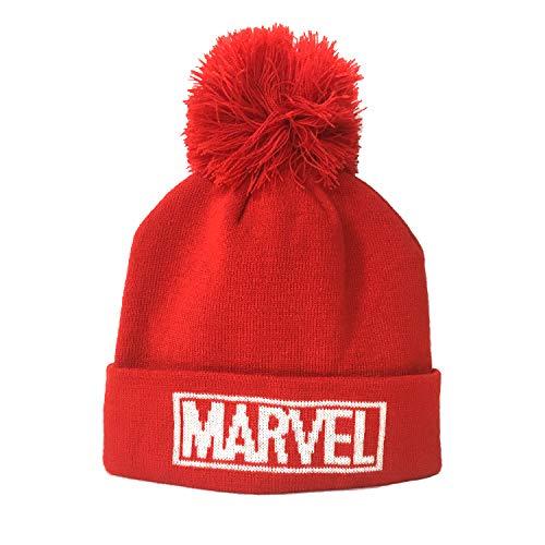 Marvel - Gorro rojo para hombre original de camiseta con PON – Logo frontal blanco Producto oficial Superhéroes – Mujer Niño/Niño rojo Talla única