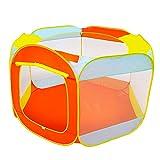 GuoCu Spielzelt für Kinder,6-seitig Falten Bällebad Spielzelt Pop Up Funktion Spielhaus inkl Netz...