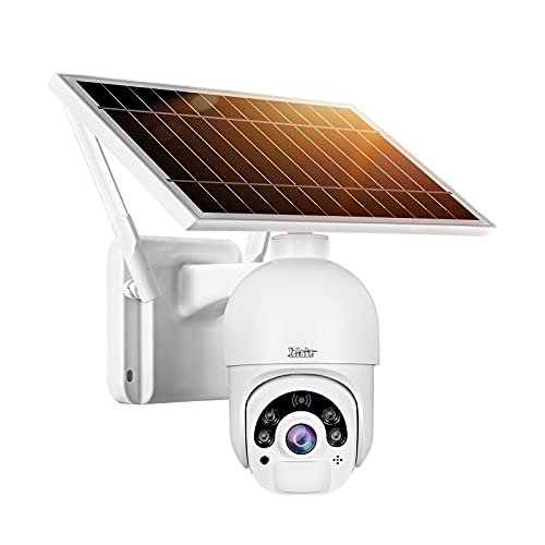 YoLuke Solar Powered WiFi Outdoor Camera Floodlight Pan Tilt HD 1080P 100% Wire-Free Rechargeable Solar Panel Security Surveillance Camera Support PIR Motion Detection