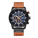 Zwbfu Reloj de Cuarzo Deportivo de Cuero de la PU de la Moda de los Hombres de Reloj Casual Reloj de Cuarzo Resistente al Agua de Lujo