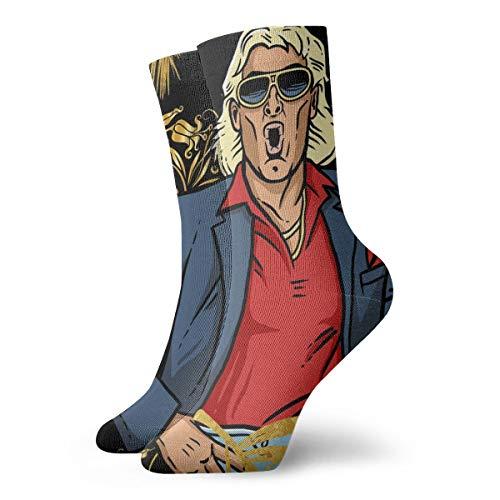 Novelty Fashion Soft Short Cotton Socks Ric Flair Compression Socks Women & Men - Best Running, Athletic Sports, Crossfit, Flight Travel
