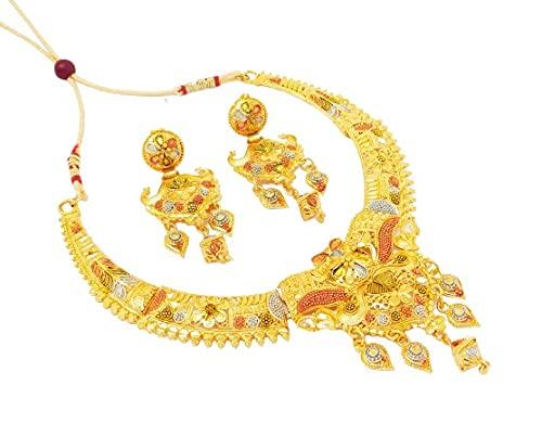 Ginni Indian Gold Plated Jewelry Bridal Wedding Style Asian Necklace Fashion Set