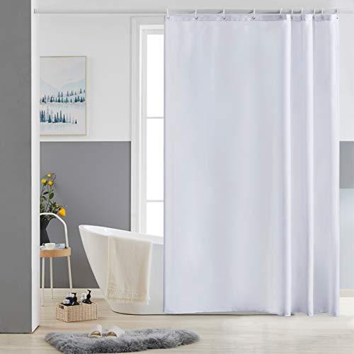 Furlinic Schmaler Duschvorhang für Dusche und Badewanne, Badvorhang Textil aus Polyester Stoff schimmelresistent Wasserabweisend und Waschbar, Weiß 150x180 mit 10 Duschvorhangringen.