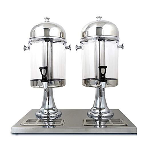 NEHARO-Home Entsafter Beverage dispensador con 2 grifos, Profesional para Hielo Comercial y Calentador de Bebidas, Zumo de máquina Milk Tea Barile Bebida fría Máquina de Acero Inoxidable Base