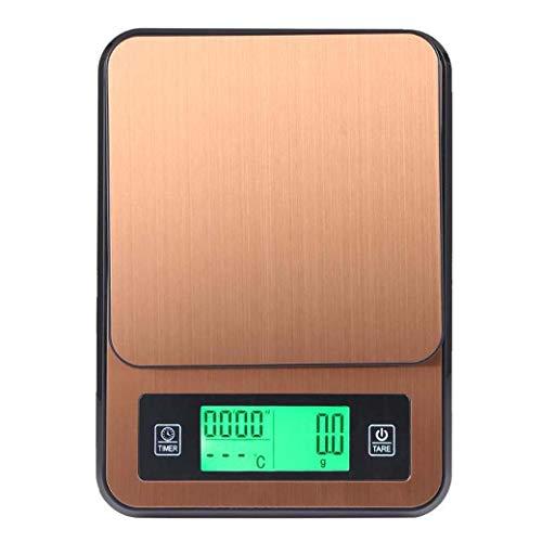 Elektronische koffieladder, 2 kg/1 g, met timer, temperatuursensor, keukenweegschaal, digitale keukenweegschaal met verlicht lcd-display, espresso weegschaal, koffiebrewing, eten, dranken, goud