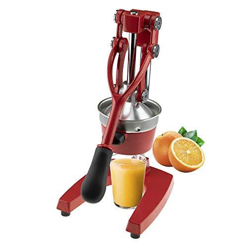 Clever Chef Professionelle, robuste Zitruspresse, Premium, manuelle Orangenpresse und Zitronenpresse, rot