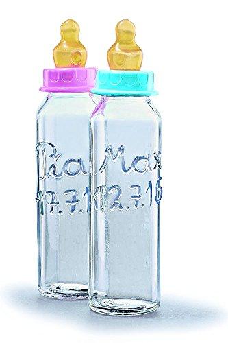 Personalisierte Babyflasche beschriftet mit Name und Geburtstag des Babys. Geschenk zur Geburt. Geschenk zur Taufe. Geburtsgeschenk. Taufgeschenk. Mit blauem oder rosa Verschluss für Junge oder Mädchen.