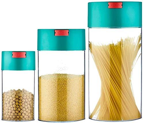 Storage jar Keuken Storage Box Voedsel Container van de Opslag - 3 Sets - High Pressure Uitlaat Button - Fresh Snacks/Thee melkpoeder/Multi-Grain Vacuum Storage Flessen -Opslag doos keuken