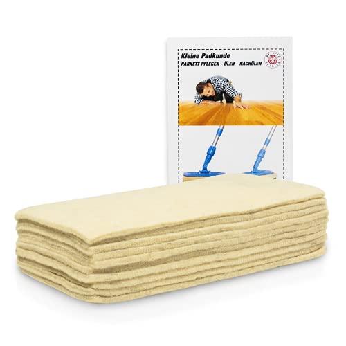 HPS – 10 panni in morbidissima lana di pecora – accessorio per la cura del pavimento, per lucidare e oliare il parquet - applicazione con supporto a mano – utilizzo con cera ed emulsioni