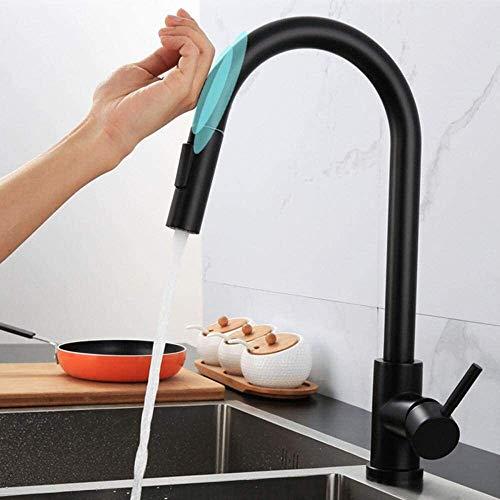 LYP Grifo de Cocina Tire Mezclador de la Cocina Grifo de 360 Grados de Arco de Alta rotación caño Giratorio Doble función del Fregadero de Cocina Grifos-Negro