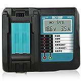 Gakkiti マキタ 充電器 DC18RF 14.4V-18V 用 互換品 14.4V 18Vリチウムイオンバッテリー用 USB端子 搭載 スマホ等 充電用USBポート付 スマホ 充電可能 マキタ 電池 BL1430 BL1440 BL1450 BL1460 BL1815 BL1830 BL1840 BL1850 BL1860 BL1430B BL1460B BL1830B BL1850B BL1860B など 充電可能 USBケーブル 別売 充電完了メロディ付 液晶付き 連続充電可能 壁掛け可能