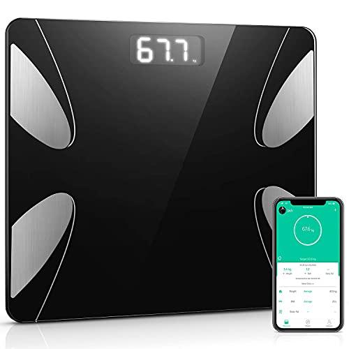 Báscula de Baño Inteligente Digital de Alta Medición Precisa, Bascula Grasa Corporal, Balanza Digital Baño con Bluetooth por iOS y Android App, Análisis Corporal de13 Funciones, 180 kg / 400 lb