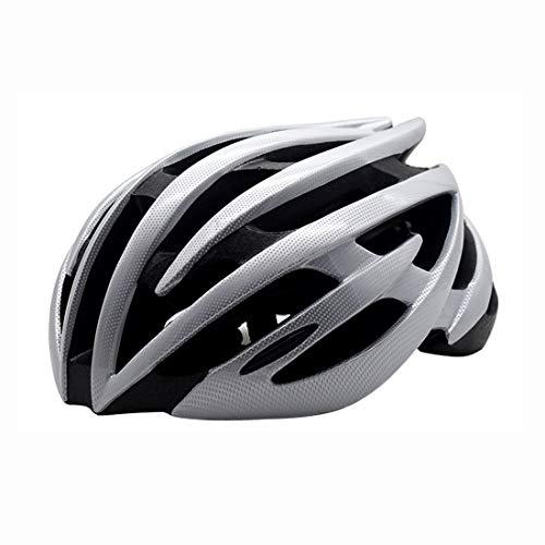 LXJ Casque de vélo de route confortable et respirant pour homme - Noir et blanc - Argenté
