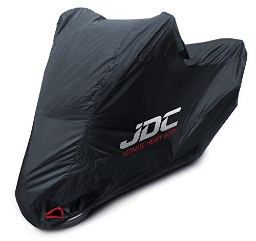 JDC 100% wasserdichte Motorradabdeckung - Ultimate Heavy Duty (Extra strapazierfähig, weiches Futter, hitzebeständig, verschweißte Nähte) - L