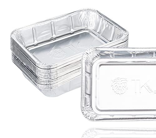 TK Gruppe Timo Klingler 20er Tropfschale - Einwegschale aus Aluminium zum Grillen - Aluschale ca. 14x19 cm Grillschale - Fettauffangschale (1)